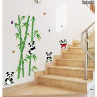 diy墙贴批发 熊猫吃竹子创意卧室客厅电视墙背景装饰可移AY9215