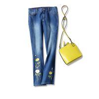 17夏季新品 柜台6000+ !花卉刺绣钉珠 弹力修身九分喇叭牛仔裤女