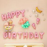 宝宝一周岁生日布置女孩会场装饰用品生日快乐气球儿童背景墙
