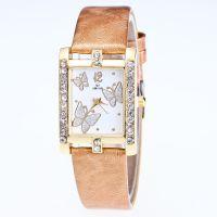现货批发方形皮带女表2017新款女士手表镶满钻石英表蝴蝶女款手表