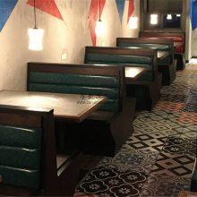 长沙工业风卡座沙发定做,复古主题餐厅卡座桌子组合定制