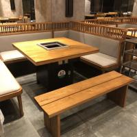 深圳主题火锅餐厅火锅家具定制 老榆木实木台面桌子 多多乐家具