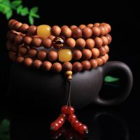 奇香压手巴比檀香佛珠手串清香芭比檀原木木质工艺品红玛瑙手链