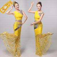 新款傣族舞蹈演出服装成人舞台表演服女鱼尾裙孔雀舞演出服长裙女