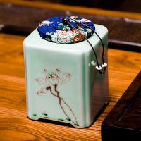 龙泉青瓷手绘茶叶罐 大号茶叶包装盒陶瓷密封储存普洱红茶罐茶具