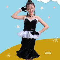儿童拉丁舞裙练功服旗袍式连衣裙短裙女孩考级比赛舞蹈服装