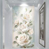 简欧玄关现代装饰画竖版过道简约现代麋鹿树走廊单幅自粘壁画