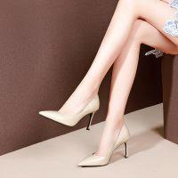 欧美风秋季新款浅口单鞋懒人鞋低帮鞋牛皮细高跟尖头女四季手工鞋