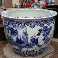 景德镇陶瓷特大号鱼缸 青花瓷十八罗汉大缸 寺庙庭院摆件瓷器大缸
