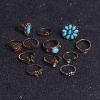 D0319 欧美外贸新品 复古镶钻绿松石太阳月亮12件套关节戒指套装