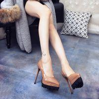 一件代发戈蕊丝欧洲站裸色2017春款夜店尖头鞋防水台细跟超高跟鞋