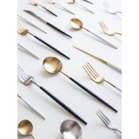 摩登不锈钢黑金白金主妇刀叉西餐餐具叉子长柄勺子牛排刀叉勺