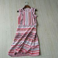 欧洲站18夏季新款女装欧美大牌气质荷叶边撞色提花针织背心连衣裙