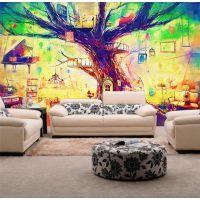 大型壁画油画客厅电视背景墙壁纸3d立体壁画树屋魔幻手绘树木