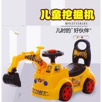 儿童老挖机可坐可骑挖土机滑行助步小孩玩具四轮工程车手动挖掘机