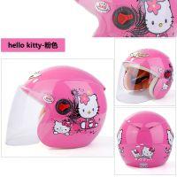 儿童头盔摩托车可爱女孩安全帽四季女童冰雪奇缘电动车轻便式头盔
