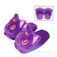 日本美少女战士 露娜猫猫咪玩具卡通毛绒拖鞋居家情侣半包跟棉鞋