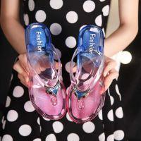 水晶时尚防滑人字拖沙滩鞋凉拖鞋凉鞋女学生夏季韩版平底外穿夏天