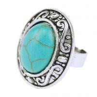 速卖通淘宝爆款指环  欧美复古宝石天然绿松石戒指  厂家直销