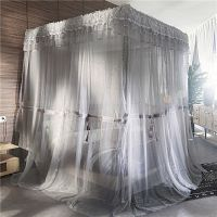 灰色双层蚊帐三开门落地支架公主风宫廷1.8m床2.0欧式双人床幔1.5