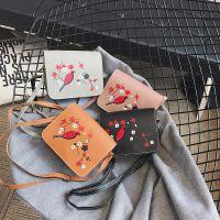 新款女包2017休闲简约时尚印花斜挎小方女式包包批发一件代发