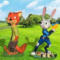 玻璃钢卡通彩绘疯狂动物城兔子朱迪狐狸尼克卡动物雕塑电影院摆件