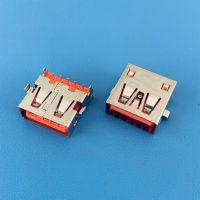 沉板3.9mm母座/USB AF 3.0 9PIN/四脚插板DIP/橙胶/直边无导位/带弹片