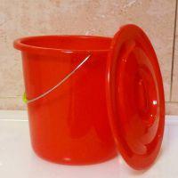 大号带盖圆形桶子塑料桶小水桶家用式加厚红色储水泡脚洗澡桶手提