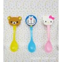 定制做 热销Hello kitty 小棕熊 大嘴猴卡通动漫软胶硅胶勺子套