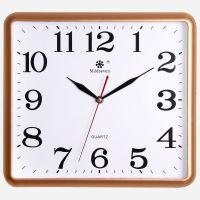 墙上办公室日历钟无声挂表挂钟客厅客厅钟数显四方型尺寸白色家庭