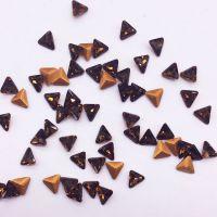 厂家热销4mm三角咖啡色烟黄k9玻璃异形水晶钻 手表眼镜项链饰品配件