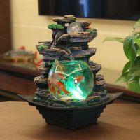 客厅鱼缸假山流水喷泉风水轮室内办公室桌面装饰品创意微景观摆件