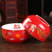 釉下彩日式餐具陶瓷复古彩色碗礼品寿碗福如东海景德镇陶瓷寿碗定制