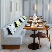 福田奶茶店配套餐桌椅,休闲餐厅北欧实木餐桌椅,专业餐厅家具定制15年