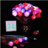 七夕情人节浪漫礼物LED发光玫瑰花 节庆活动现场助威发光用品