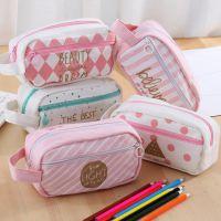 小清新学生笔袋双层口袋文具袋 日韩文具创意少女心手提铅笔袋