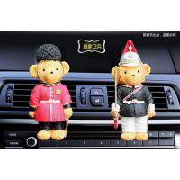 新款上市树脂小熊汽车空调风口对装 汽车香水 空调风口卡通摆件