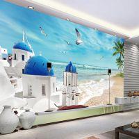 3d电视背景墙大型壁画 地中海风格无纺布壁纸墙纸自粘沙发墙布