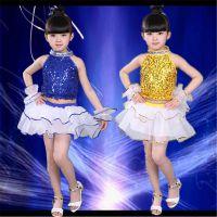 儿童拉丁舞演出服少儿女童拉丁舞表演比赛演出服装新款亮片纱裙