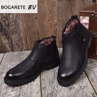 广州批发冬季保暖棉靴真羊毛一体男靴子磨砂头层牛皮马丁靴短靴潮