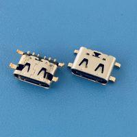 6PIN沉板式TYPE-C母座/四脚插板SMT/前插后贴/贴片式/单充电功能
