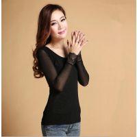 秋季女装薄款网纱打底衫长袖 黑色弹力网透明拼接蕾丝袖口上衣T恤