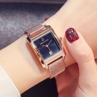 2018新款时尚女士手表女 网带长方型时装表 鸵鸟王装饰钢带石英表