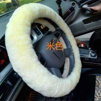 100%纯羊毛汽车方向盘套羊毛把套冬季新款羊剪绒方向盘套真皮把套