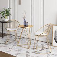 北欧靠背椅餐椅家用阳台桌椅网红椅金色网椅奶茶店休闲桌椅套装