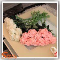 高档欧式家居 PE人造玫瑰花仿真植物 创意插花套装手感玫瑰批发