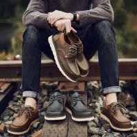 新款休闲皮鞋男士英伦休闲鞋真皮男鞋子马丁靴男士皮鞋一件代发