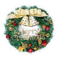 40CM金色缎带铃铛圣诞花环 圣诞节餐厅酒店装饰品 圣诞用品批发