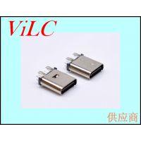 四脚鱼叉直插式TYPE C母头-USB3.1母座 不锈钢壳 编带包装