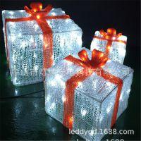 圣诞节装饰品 铁艺礼盒蝴蝶结三件套 商场装饰灯节日场景布置摆件